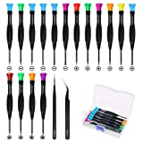 Screwdriver Set, FIXITOK 18Pcs Magnetic Small Screwdrivers with Flathead Phillips Screwdrivers Pentalobe Torx Star Screwdrivers Tweezers in Different Sizes Colors for Repairing Eyeglass Phone Watch