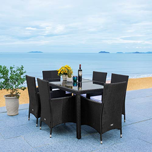 Safavieh Outdoor Collection Jolin Wicker 7-Piece Dining Set PAT7706A-3BX, Black/White Cushion