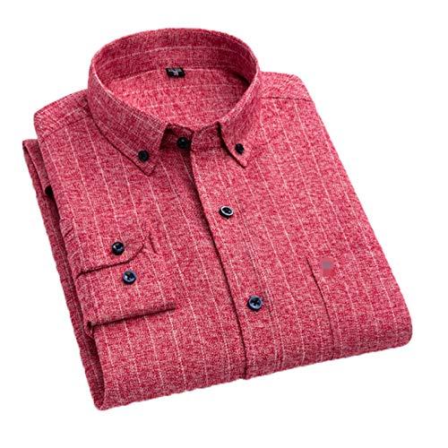 Camisa a cuadros de algodón cepillado casual de los hombres de un solo parche bolsillo manga larga suave guingham franela camisas
