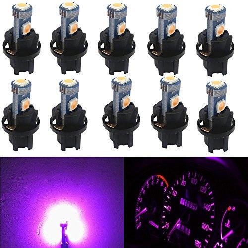 WLJH T5 LED Tableau de bord Dash ampoule 37 2721 70 CANBUS sans erreur ampoules LED avec 3/20,3 cm Douille Twist Lock (6PCS, Rose)