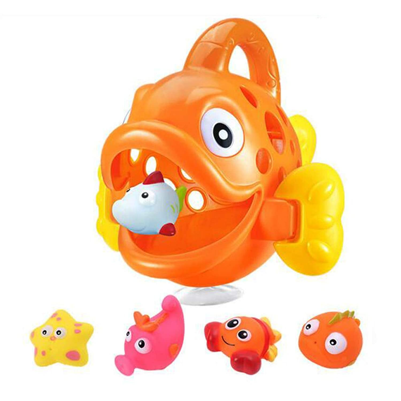 ACHICOO お風呂用おもちゃ バスおもちゃ 大きく 小さい 飲み込む 魚の形 子供 幼児 オレンジ