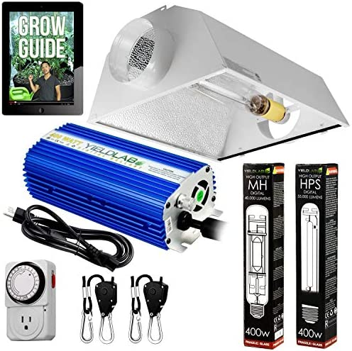 Yield Lab Horticulture 400w HPS MH Grow Light Cool Hood Reflector Kit Easy Setup Full Spectrum product image