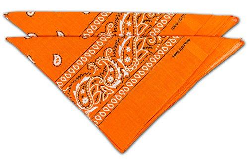 fashionchimp ® Nicki-Halstuch aus 100% Baumwolle im 2er Set, Unisex Bandana, AZO-Frei (Orange)