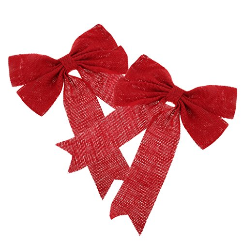 Sconosciuto Generic Christmas Cute Bow Tree Hanging Decoration Xmas Bowknot Ornament for Party - Rosso
