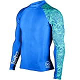 HUGESPORTSラッシュガード スポーツシャツ長袖 メンズ 【UPF50+ UVカット加工済】(Blue,L)