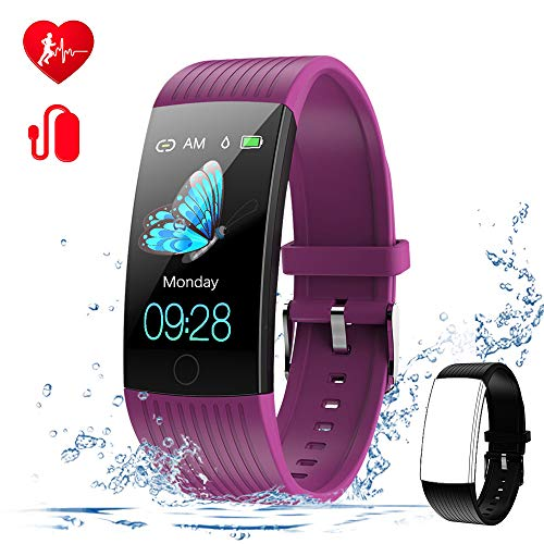 WELTEAYO Fitness Tracker with Heart Rate Monitor Fitness Watch Activity Tracker 1.14 Inch Color Screen Pedometer Blood Pressure Monitor Sleep Monitor IP67Waterproof for Android and iPhone Purple
