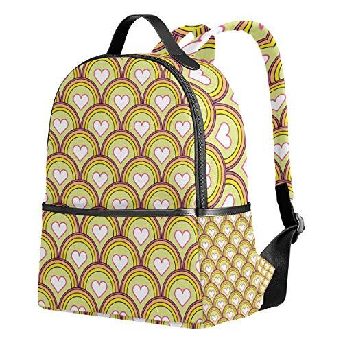 Ahomy Mochila Escolar, báscula de Pescado Amor Corazones Bookbag Viaje Grande Casual Mochila Daypack para Adolescentes niñas niños
