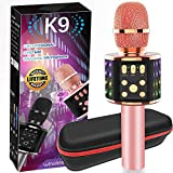 Wireless Karaoke Bluetooth Microphone with Controllable LED Lights, Portable Handheld Karaoke Speaker Machine with Dual Sing, Suitable for Christmas Birthdays Family Gatherings Speeches(Rose Gold)