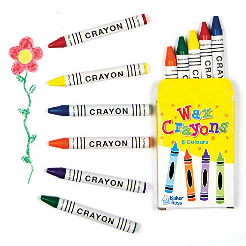 Baker Ross AF989 Mini Crayons - Pack of 8 boxes, Arts and Crafts Supplies and School Classroom Supplies, assorted, 7cmx5cm