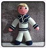 Peluche niño con traje de comunion confeccionado a ganchillo-crochet. Hecho a mano. Técnica amigurum...