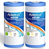 PUREPLUS 5 Micron 10' x 4.5' Whole House Big Blue Sediment and Activated Carbon Water Filter Replacement Cartridge for GE FXHTC, GXWH40L, GXWH35F, GNWH38S, RFC-BBSA, WRC25HD, PP10BB-CC, RFC-BB, 2Pack