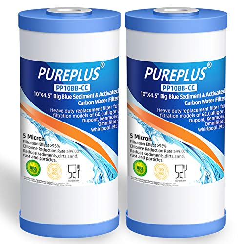 """PUREPLUS 5 Micron 10"""" x 4.5"""" Whole House Big Blue Sediment and Activated Carbon Water Filter Replacement Cartridge for GE FXHTC, GXWH40L, GXWH35F, GNWH38S, RFC-BBSA, WRC25HD, PP10BB-CC, RFC-BB, 2Pack"""