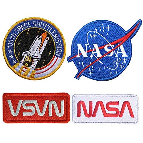 5 Stück NASA Aeronautics Aufnäher, Applikation, Aufbügler, Iron on Patch,NASA Space Shuttle Pilot Iron für Kleidung Jacke Jeans Cap