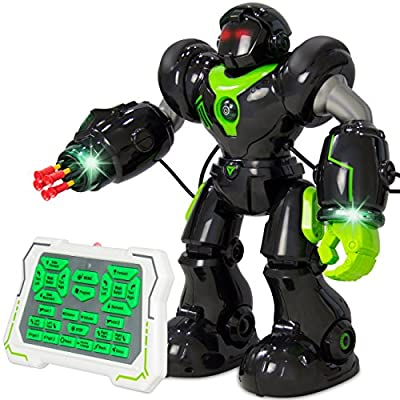Best Choice Products Remote-Control Intelligent RC Talking Walking Robot Action Toy w/ Darts, Lights, Music - Black