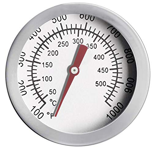 """ECENR 2"""" Barbecue Charcoal Grill Smoker Temperature Gauge Pit Smoker Temp Gauge Grill Thermometer Fahrenheit and Heat Indicator, Stainless Steel Temp Gauge"""