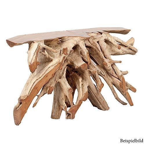LEBENSwohnART Teak Konsole PRIMIE Natural ca.120cm Wurzelholz Anrichte Konsolentisch Handmade