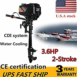 HANGKAI Outboard Motor,3.6HP 2-Stroke Outboard Motor Engine Fishing Boat Motor Water Cooling System Durable Cast Aluminum ...