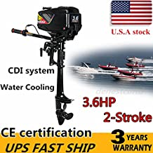 HANGKAI Outboard Motor,3.6HP 2-Stroke Outboard Motor Engine Fishing Boat Motor Water Cooling System Durable Cast Aluminum Construction for Superior Corrosion Protection (US Stock)