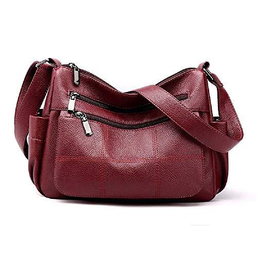GATANEW Ladies Pu Bag Shoulder Bag Messenger Bag Soft Leather Wallet Large Capacity Office Bag Retro Female Bag Red wine