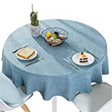 Bettery Home Cotton Linen Solid Color Tablecloth Round Simple Style Table Cover for Kitchen Dining Tabletop Linen Decor (Blue, Round - 55 Inch)