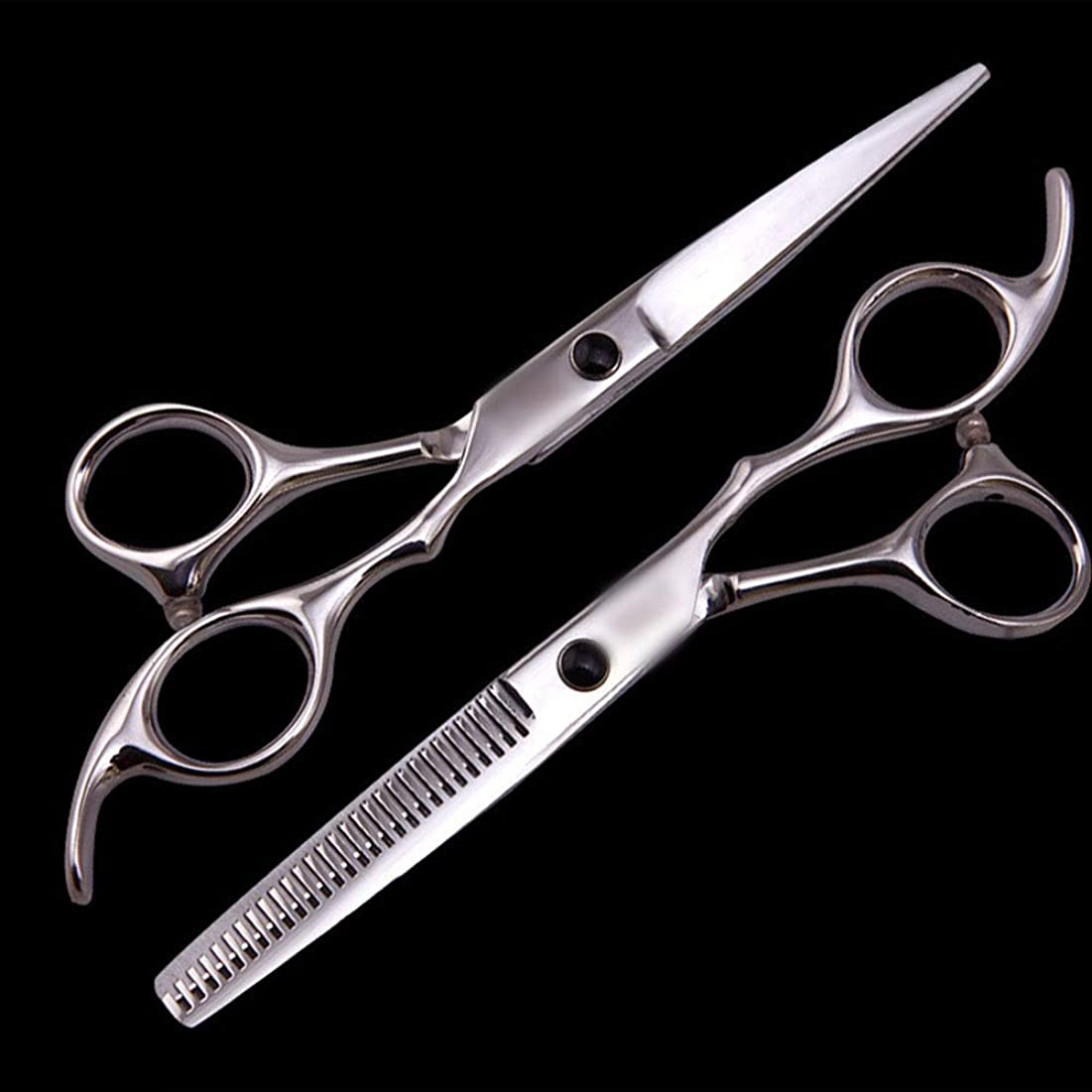 風が強いベルコンバーチブル理髪用はさみ 6インチ美容院プロの理髪セット、理髪ツールフラットせん断+歯せん断ヘアカットシザーステンレス理髪はさみ (色 : Silver)
