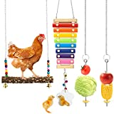 Woiworco 4 Packs Chicken Toys for Coop, Chicken Xylophone Toys with Mirror,...