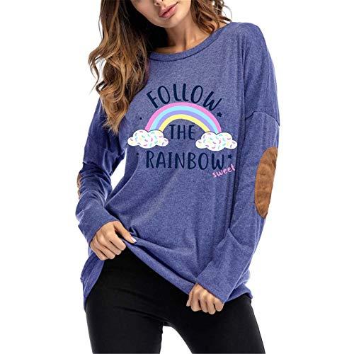 Camisetas de manga larga casuales para mujer blusa Manga larga parche parche parche top camiseta sudadera suave arco iris impresión redondo cuello redondo Tops Túnica ( Color : Blue , Size : Medium )