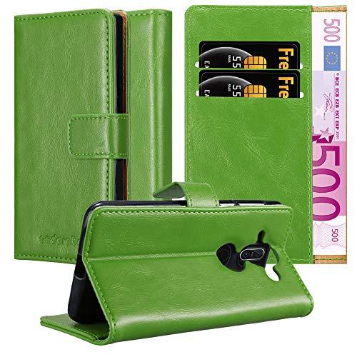 Cadorabo Hülle für Nokia 8 Sirocco in Gras GRÜN – Handyhülle mit Magnetverschluss, Standfunktion & Kartenfach – Hülle Cover Schutzhülle Etui Tasche Book Klapp Style