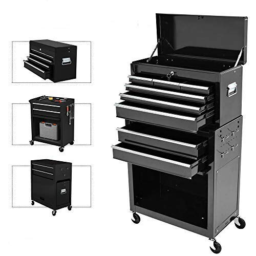 8-Drawer Rolling Tool Chest,Big Tool Chest and Tool Storage Cabinet,Tool Chest with 4 Wheels,Removable Portable Top Box with Lock Tool Chest for Garage and Warehouse-Cool Black