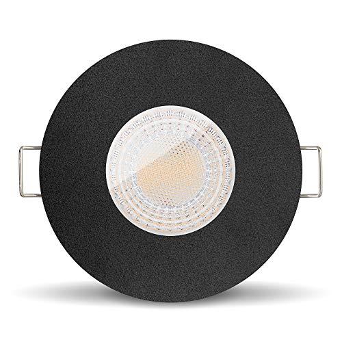 Ledox Led Bad Einbaustrahler Set IP65 dimmbar inkl. Einbaurahmen Lista Aqua schwarz 230V 7W Gu10 mit 60° Abstrahlwinkel - 60 Watt Ersatz mit Ra>93 (5er Set 5000K tageslichtweiß)