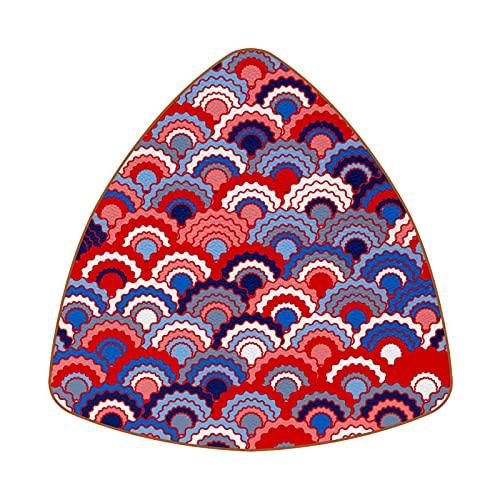 Bennigiry Juego de 6 posavasos de piel con diseño de escamas de pescado, color rojo, azul marino, blanco, resistente al calor, para taza de café, taza de cristal, para colocar
