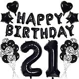 Negro 21 Conjunto de Decoraciones de Fiesta de Cumpleaños para Adultos Mujer Hombre - Negro HAPPY BIRTHDAY Globo Bandera Número 21 Globo de Papel Estrella Corazón Papel Picado Globos de Látex