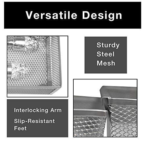 Smart Design Drawer Organizer - (9 x 6 Inch) - Steel Metal Mesh Tray - w/ Interlocking Arm Connection - Utensils, Silverware, Organization - Kitchen [Silver]