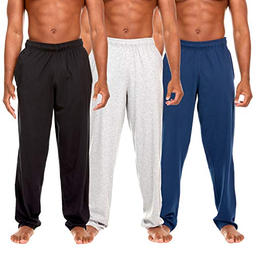 3 Pack: Men's 100% Cotton Jersey Jogging Lounge Casual Sleep Drawstring Pants with Pockets (Medium, Set A)
