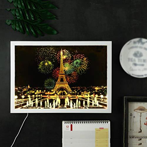 DIY Scratch Art Book Speciale Fotolijst, Stad Nachtzicht Regenboogschildering Scratch Art Set Speciale Fotolijst Met USB-Nachtlichtfunctie [Energieklasse A]