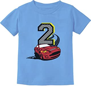 2nd Birthday Race Car Party 2 Year Old Boy Toddler Kids T-Shirt