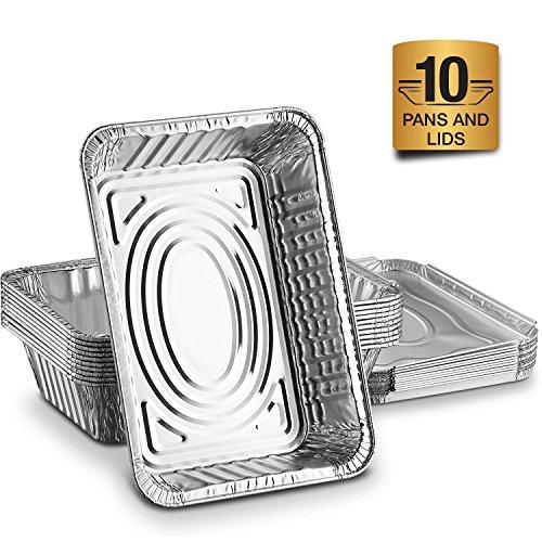 Aluschalen mit Deckel Alu Auflaufform: 10er Lunchbox Set zum Aufbewahren von Essen oder als Backform Aluminiumbehälter mit Einlegedeckel - Einweg Grillschale 21 x 15 cm mit 1000 ml für Lasagne uvm