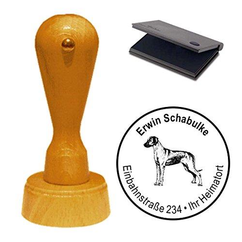 Stempel met kussen, adressenstempel, RhoDESIAN RIDGEBACK, diameter ca. Ø 40 mm - met persoonlijk adres en hondenmotief - hond huisdier