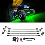 LEDGlow 4pc Green LED Golf Cart Underbody Underglow Accent Neon Light Kit for EZGO Yamaha Club Car - Water Resistant Flexible Tubes - Includes Control Box & Wireless Remote