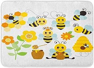 GoHeBe Yellow Cute Honey Bees Flower Cartoon Beehive Bumblebee Honeycomb Background Pattern Flannel Indoor Floor Mat Bath Rugs Prevent Shifting Super Absorbent 3D Printing 60x40cm