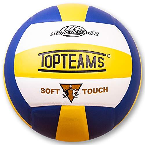 TOPteams Beachvolleyball,Volleyball,Beach und Funball Größe 5 Weicher Ballkontakt (Blau)