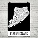 Staten Island Poster, Staten Island Art Print, Staten Island Wall Art, Staten Island Map, Staten Island City Map, Staten Island New York City Map Art,Staten Island Gift,(24' x 36', White and Black)