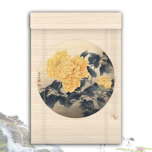 Bamboe Rolgordijn Rolgordijn Bamboe Rolgordijn Rolgordijnen Rolgordijnen Houten Rolgordijn - Mooi Chrysanthemum Rolgordijn Zonnescherm Schaduw Eenvoudig Te Monteren (Grootte: 120X180CM)