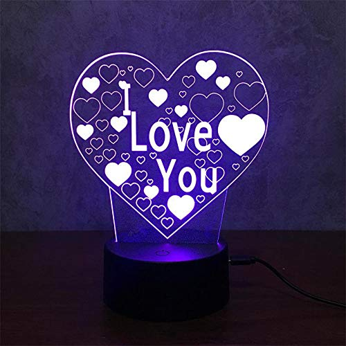 7 Colors Changing Led Night Desk Light, Auto Changing Smart Touch Switch 3D Optical Illusion Lamp, Visual Atmosphere Decor Lamp, USB Beside Table Lamp, for Halloween Decoration, Love