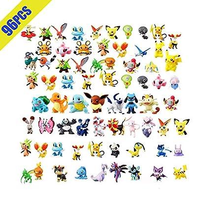 OMZGXGOD Pokemon Figuras ,Mini Figuras de plástico tamaño pequeño Regalo,La Figura de Pokémon Incluye a Pikachu, Charmander, Squirtle, niños(96 Piezas) de OMZGXGOD