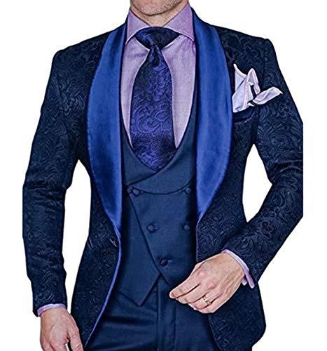 Trajes impresos de los hombres Diseño clásico Slim Fit chal solapa esmoquin 3 piezas de los novios vestido para la boda - Azul marino - 58