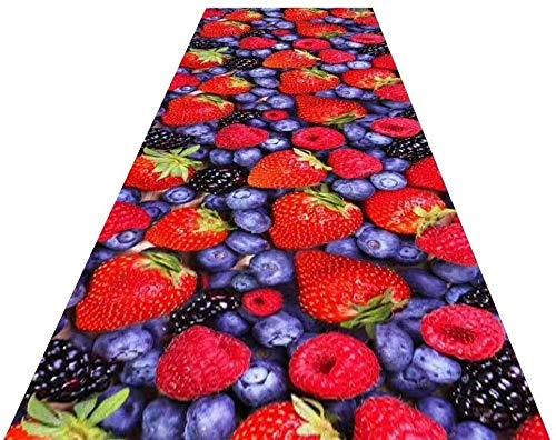 YUEDAI Patrón de la Fruta Corredor Alfombra for Pasillo Extra Larga Alfombra Antideslizante Entrada Alfombras de Vida Comedor Superficie de la habitación Personalizada (Color : A, Size : 1x6m)