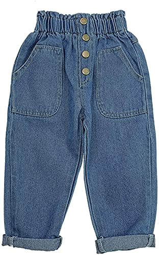 AXYRXWR Little Girls Elastic Waist Denim Jeans/Toddler Newborn Baby Boys Girls Causal Elastic Waist Destroyed Jeans Pants (Blue, 18-24 Months)