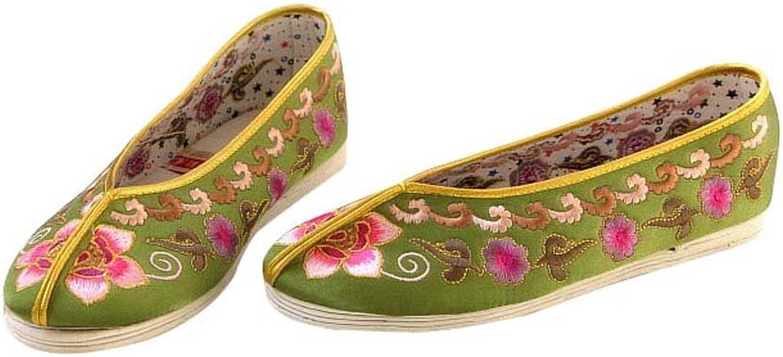 Women Slip On Casual Flat Espadrilles shoes - Handmade Sole Comfy Silk Brocade  109