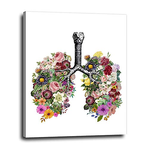 Lungs with Flowers Canvas Wall Decor 16x20 - Contemporary Medical Artwork for Office, Clinic, Waiting Room - Cute Modern Art Gift for Nurse, Doctor, Surgeon, Med, Medical Student, Pulmonologist